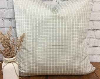 Robin's Egg Blue and Cream 26x26 Euro Pillow Sham, Envelope Euro Cover, Small Scale Check/Plaid