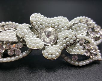 New Pearl & Crystal Rose Floral Hair 3 '' Barrette