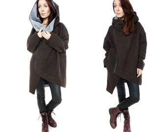 Wool jacket, Brown Coat, Handmade coat, Winter coat women, Designer coat, Oversized coat, Warm wool coat, Asymmetric coat, Tailored coat