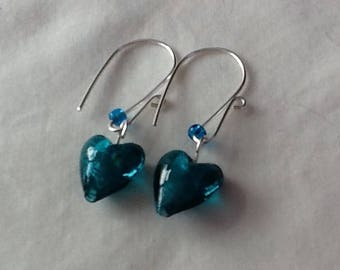 Valentine's Day gift, turquoise earrings, heart earrings, glass hearts , sterling silver wires ,