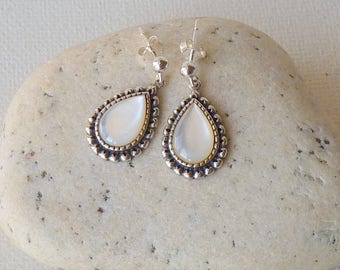 Sterling Silver Mother of Pearl Earrings Teardrop Dangle Pierced Earrings Retro Jewelry 925 Mother of Pearl Jewelry, Wedding Earrings