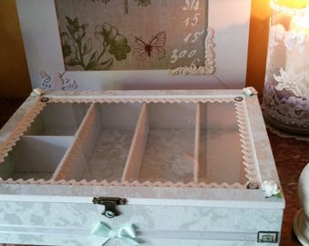 Box Shabby chic and country water Green