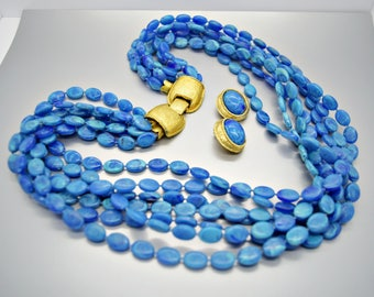 Blue Marbled Flat Oval Bead Multi Strand Necklace with Earrings N