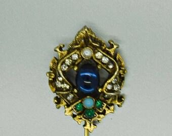 Vintage Stick Pin ART Designer Jewelry Fashion Jewelry Blue and Rhinestone Straight Pin