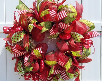 Christmas Wreath, Red and Green Wreath, Christmas Deco Mesh Wreath, Red and Green Christmas Wreath, Red and Green Mesh Wreath
