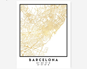 Barcelona Map Coordinates Print - Spain City Street Map Art Poster, Gold Barcelona Map Print, Spain Barcelona Coordinates Spanish Poster Map