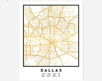 Dallas Map Coordinates Print - Texas City Street Map Art Poster, Gold Dallas Map Print, Dallas United States Coordinates American Poster Map