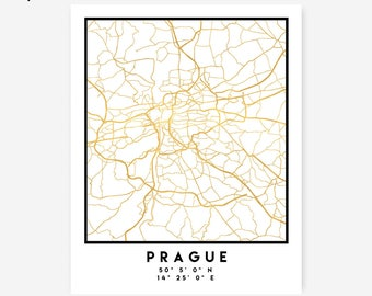 Prague Map Coordinates Print - Czech Republic City Street Map Art Poster, Gold Prague Map Print, Prague Czech Coordinates Poster Map Print