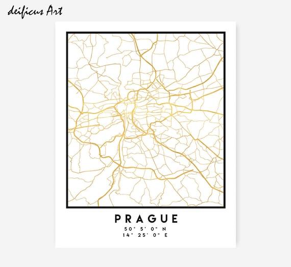 Prague Map Coordinates Print Czech Republic City Street Map - Sweden map coordinates
