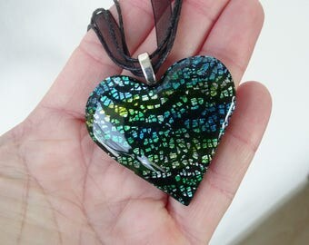 heart pendant necklace multicolor effect murano fimo polymer clay