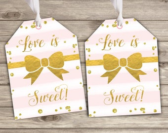 Gift tags Pink and Gold party favor Thank You Tags TT6052
