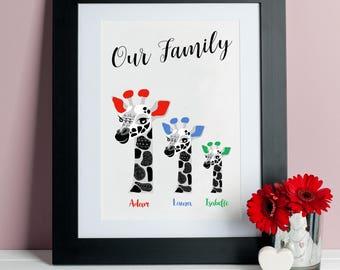 Personalised Family Giraffe Print