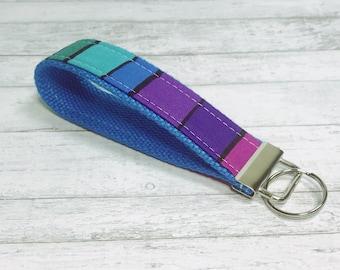 Key Fob Keyfob Wristlet Strap - Keychain Wrist Strap - Key Holder - Fabric Keyfob Wrist Strap - Rainbow Brite Keyfob - Colorful Accessories