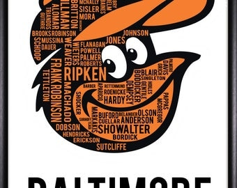 Baltimore Orioles Player Typography Art 11 x 14-FREE SHIPPING