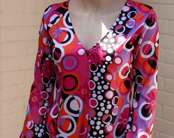 1970s spandex psychedelic mini dress UK 10