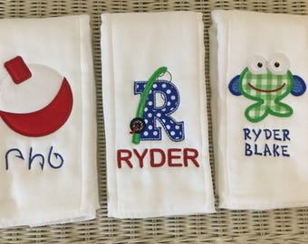 Custom Made Personalized  SET of 3 Baby Boy Fishing Burp Cloths