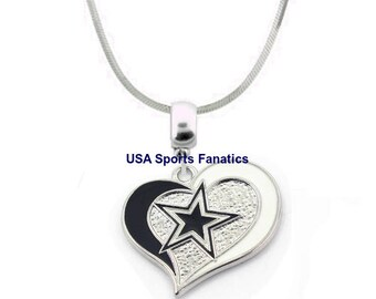 Dallas cowboys etsy nfl dallas cowboys heart swirl logo pendant necklace lead free with 925 sterling aloadofball Gallery