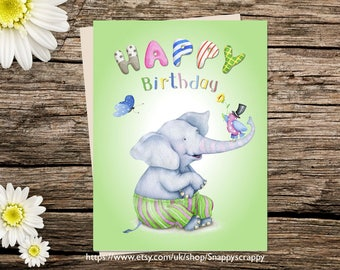 Printable  Birthday Card, Elephant, Greeting Card, Birthday  Printable Cards, Digital Download