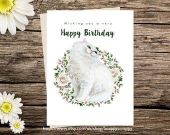 Printable  Card, Cat Greeting Card, Birthday  Printable Cards, Digital Download, Persian Cat Card