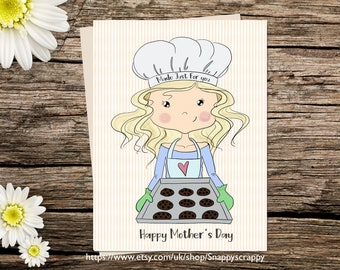 Printable  Card, Mothers Day, Greeting Card,  Printable Cards, Digital Download, Baking Cookies