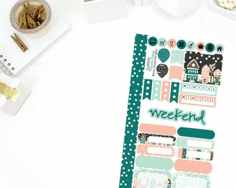 Winter Kisses Personal Weekly Kit Stickers! Perfect for your Erin Condren Life Planner, calendar, Paper Plum, Filofax!