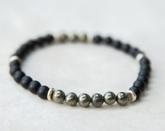 Black Matte Onyx Beaded Bracelet, Hematite Beads, Stackable Bracelet, Silver Beads, Mala Bracelet, Mens Toggle Bracelet, Healing Jewelry