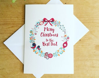 Dad Christmas Card, Christmas Card for Dad, Festive Card for Father, Dad Xmas Card, Merry Christmas Dad Card