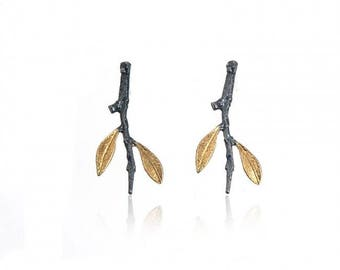 Olive branch gold plated earrings