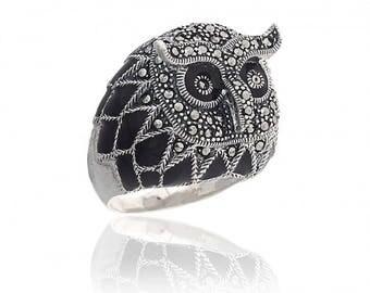 Marcasite Owl Ring