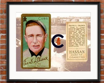 Chicago Cubs - Frank J. Chance - 1910 World Series-1910 Chicago Cubs - Baseball Card Print - 1910 Word Series - Information Card