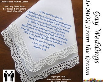 Gay Wedding ~ Mother of the Groom Gift from her son  Printed Wedding Hankerchief G804 Title, Sign & Date for Free!  LGBT Mr and Mr