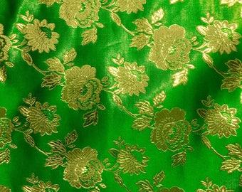 Green Metalllic Jaquard Brocade Gold Flower Print