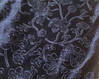 Beautiful Navy Blue Floral Embossed Fabric Des.3 Sold By the Yard