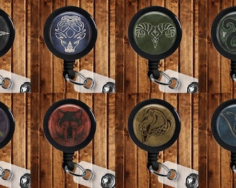 YOU PICK Skyrim inspired Retractable ID Badge Key Reel