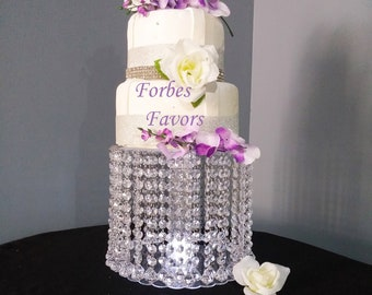 Deluxe Double Diamond Pendant Drop Acrylic Crystal Cake Stand with LED Light