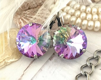 Purple and Green MEGA 18mm Swarovski Crystal Drop Earrings VITRAIL LIGHT **Gorgeous**