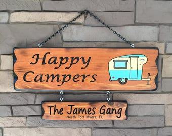 Camping Sign with vintage RV happy camper