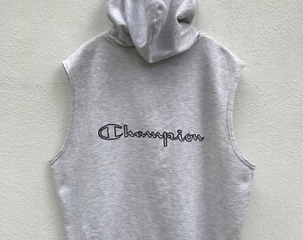 20% OFF Vintage Champion Zipper Hoodie Short Sleeve / Champion Clothing / Champion Spellout / Champion Big Logo