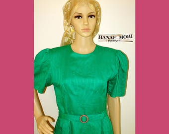 80s HANAE MORI Boutique Green Linen Cotton Jacquard Print Dress~Fitted Waist w/Geometric Seams & Fabric Belt~Retro 40s Hollywood Style~EUC!