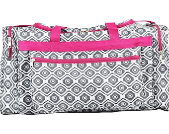 Geometric duffel ,carry on, Gym bags(Grey white, Blue Grey, Turquoise)