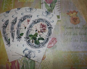 Set of 20 vintage old flowers pattern