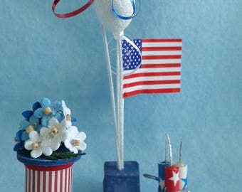 Miniature Fourth of July Independence Day Party Table Decoration (1/12th Dollhouse scale)