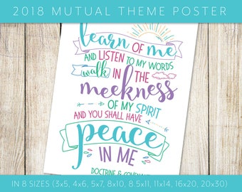 """2018 LDS Mutual Theme """"Peace in Christ"""" Blue Poster in 8 Sizes Doctrine & Covenants 19:23 Scripture Printable Youth Young Women Young Men"""