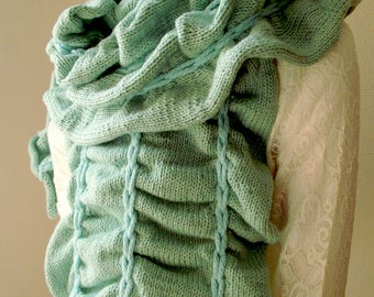 Shabby shawl / wide mid season-winter scarf with water and ultramarine blue Mint.
