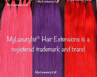 Pink, Red, Purple U tip Fusion Remy Human Hair Extensions 100 Strands 50 grams Colored Straight Nail Shape 20 in Keratin Glue Tipped Streaks