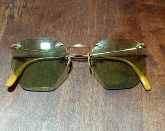 American Optical Vintage Ful-Vue gold filled Eye Glasses with Tinted Lenses