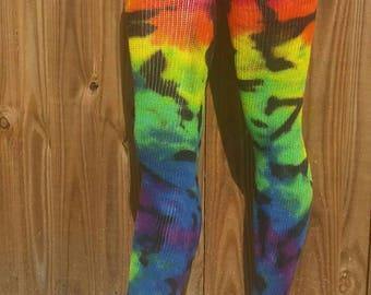 Over the Knee Socks, tie dye socks, knee high, thigh high socks, gift for her, hippie boho gifts, festival apparel, tights, hippie socks