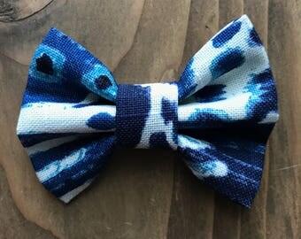 Upcycled MEDIUM Indigo Dog Bow Tie, dog collar accessory, slide on collar accessory, dog bows, pet bow tie