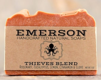 100% Natural Thieves Blend Soap • Vegan Soap, Palm Free Soap, All Natural Soap, Handmade Soap, 4 Thieves, Four Thieves, Valentine's Gift