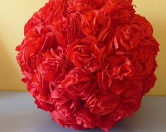 Ball ornaments in red crepe paper flower
